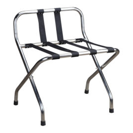Hotel Chrome Luggage Rack with Back Rest