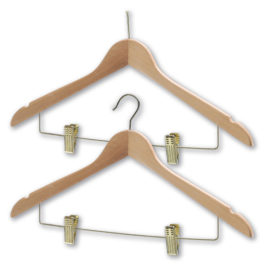 Security or Traditoional Chrome or Brass Hotel Coathangers with Skirt Clips