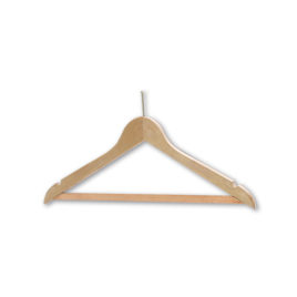 Security Chrome or Brass Hotel Wooden Coathangers