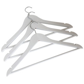 Boutique White Hotel Chrome Wooden Coathangers